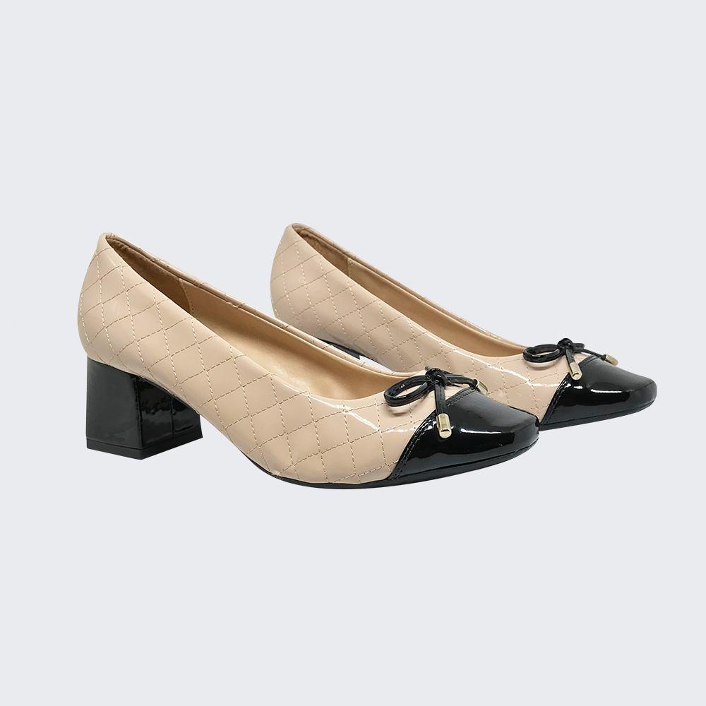 Sapato Scarpin bico redondo salto grosso baixo