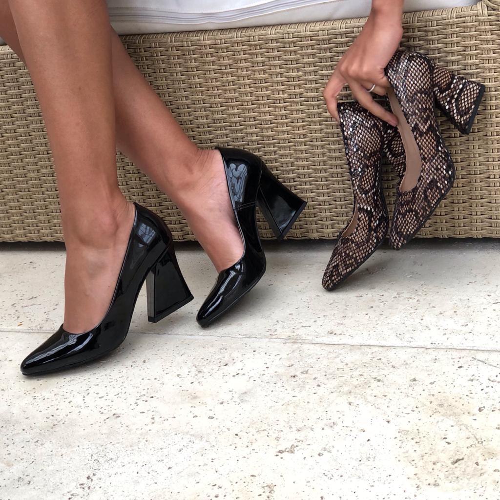 Sapato Scarpin bico redondo salto médio