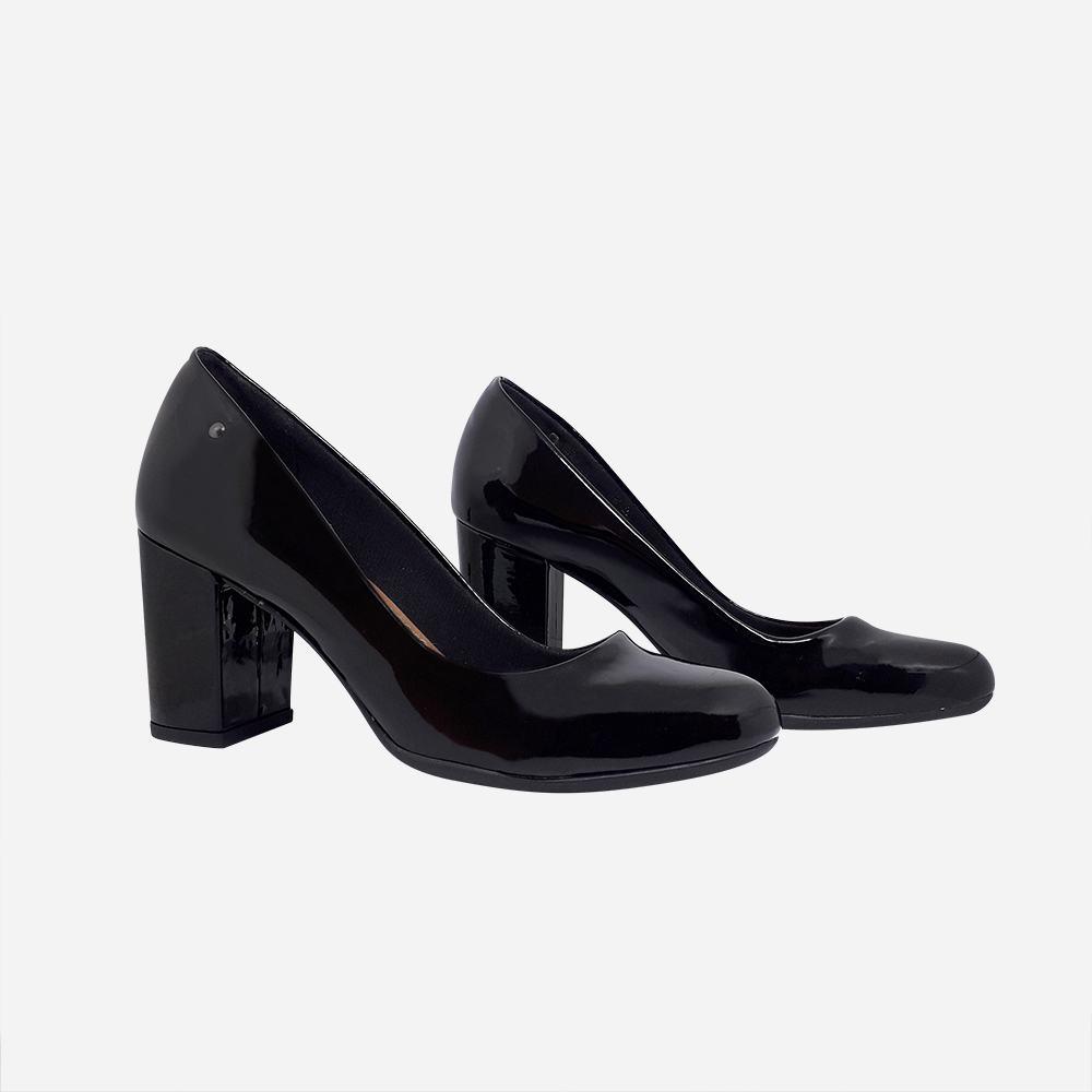 Sapato Scarpin bico redondo salto médio grosso