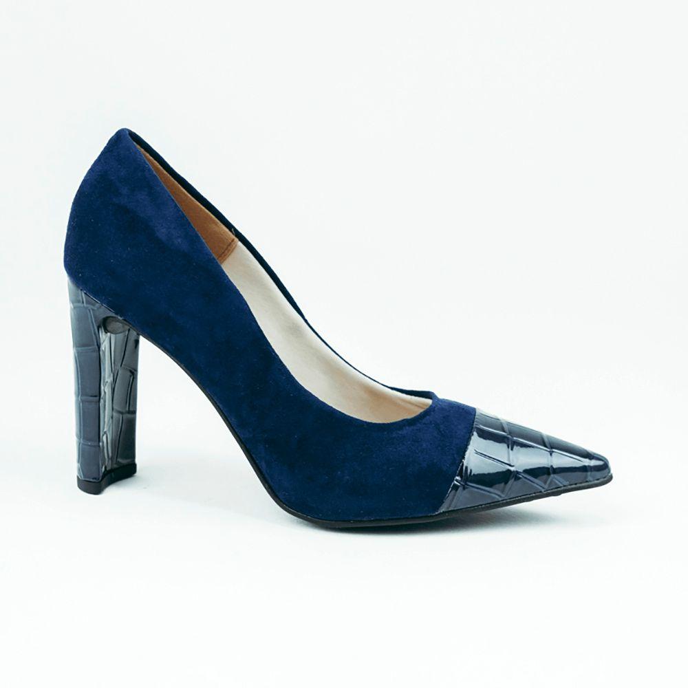 Sapato Scarpin salto alto grosso bico fino