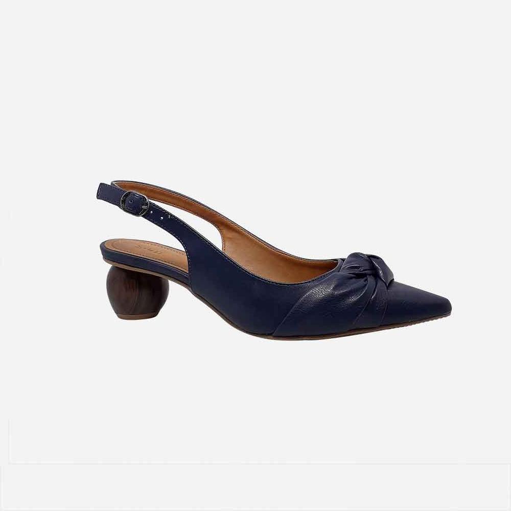 Sapato Scarpin salto baixo geométrivo bico fino