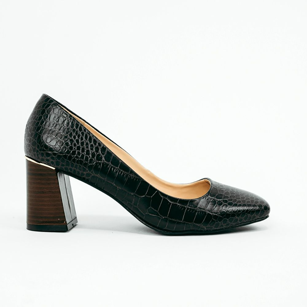Sapato Scarpin salto bloco bico quadrado