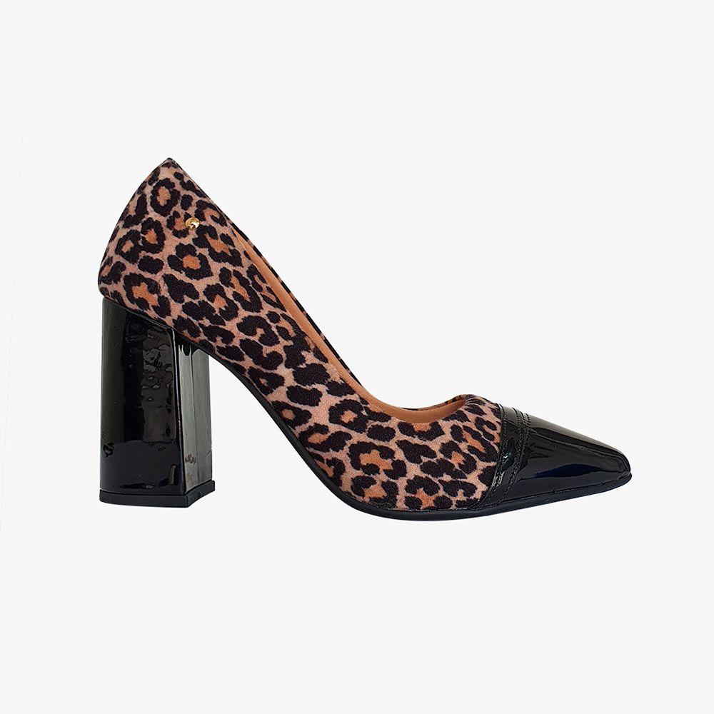 Sapato scarpin salto grosso bico fino