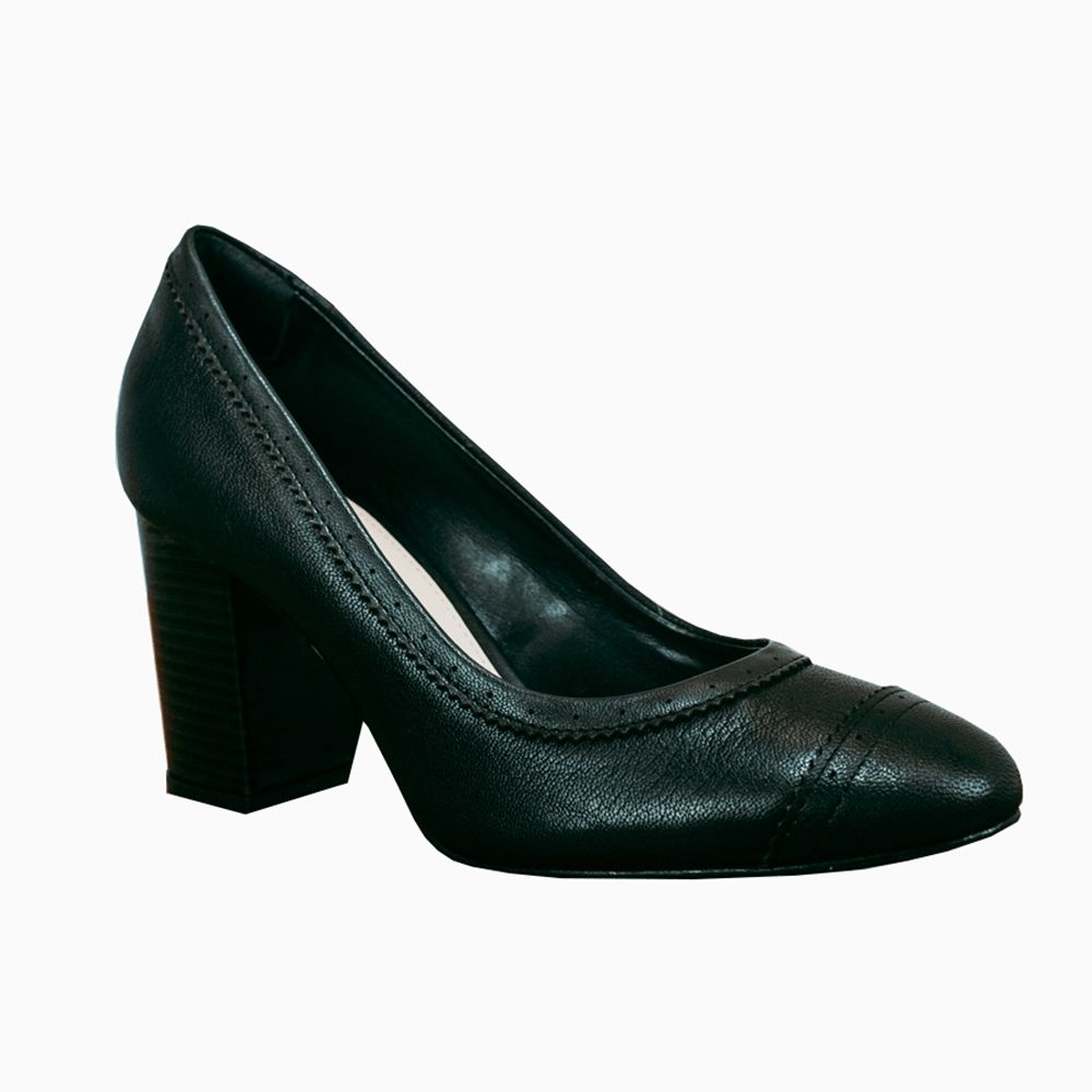 Sapato Scarpin salto grosso bico redondo