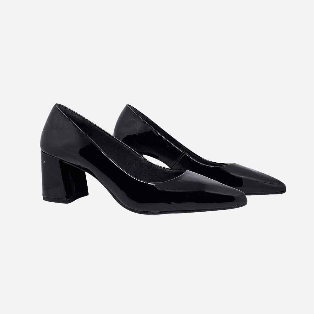Sapato scarpin salto médio com bico redondo