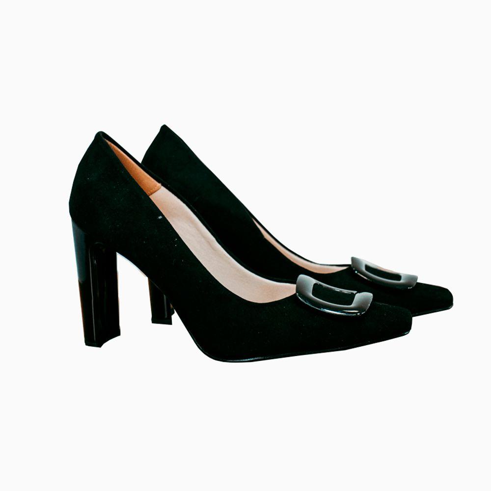 Sapato Scarpin salto médio retangular bico quadrado