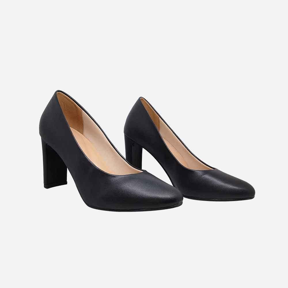 Sapato Scarpin salto médio retangular bico redondo