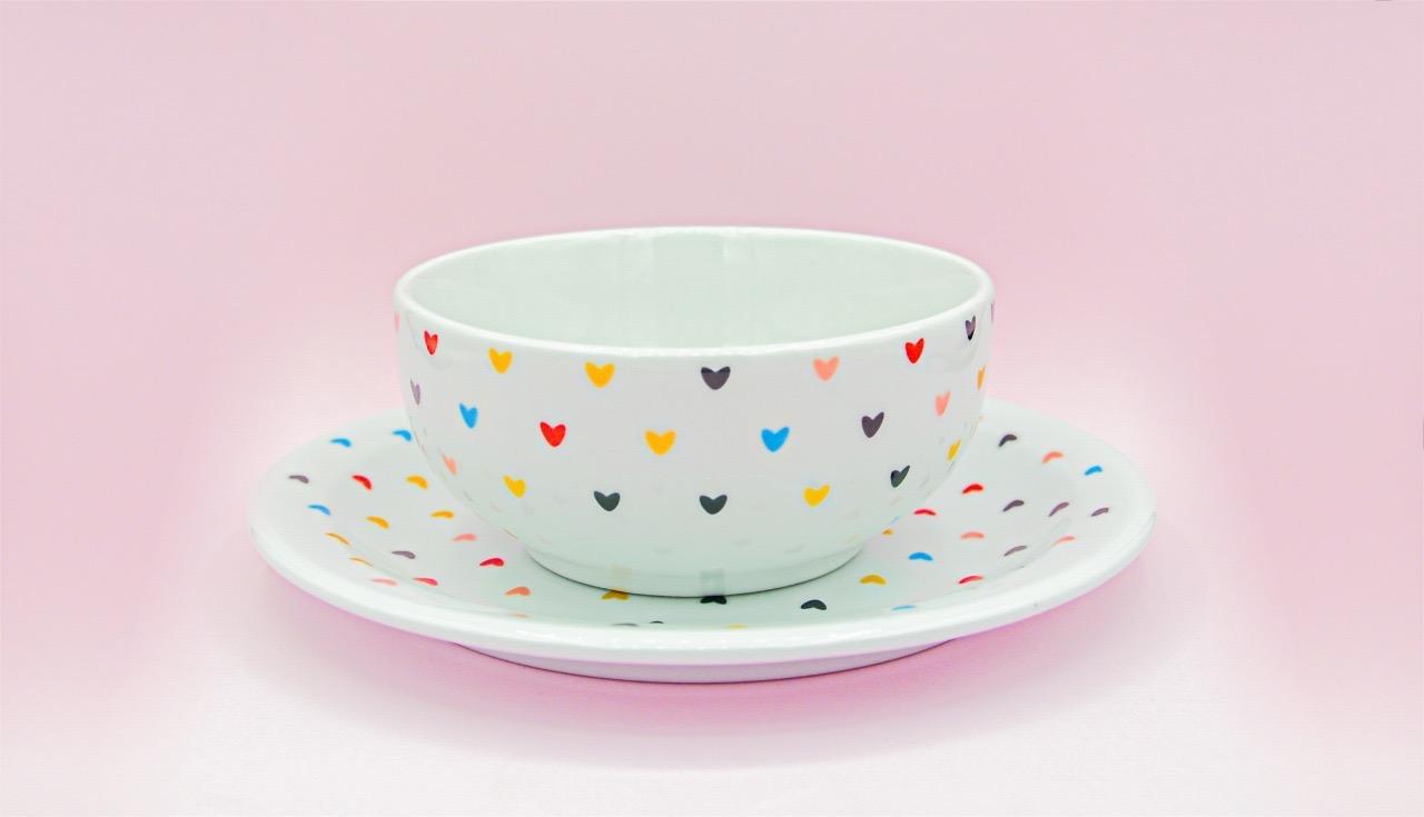 KIT CAFÉ DA MANHA  LOVE HEARTS  COM 3 PEÇAS