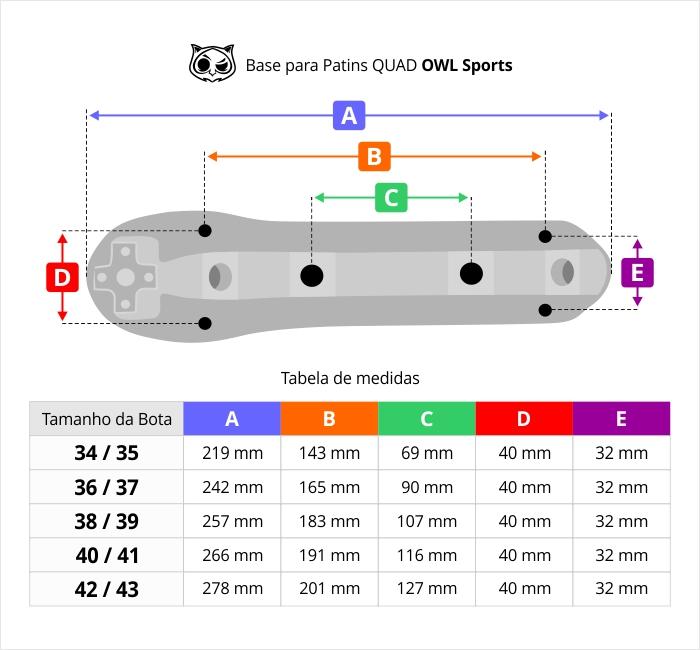 Base para Patins com Freio Regulável (Várias Cores)  - OWL Sports