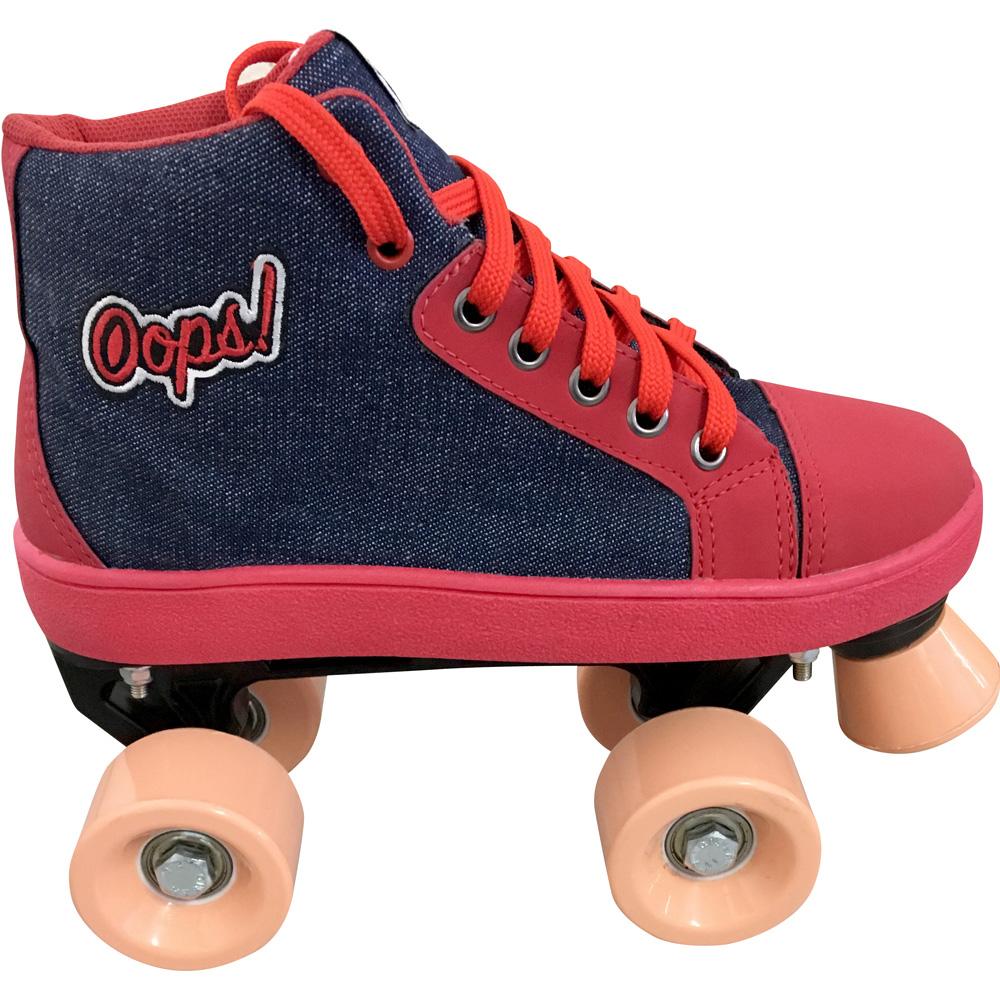 Patins Infantil Quad OWL Sports  (Jeans / Vermelho)