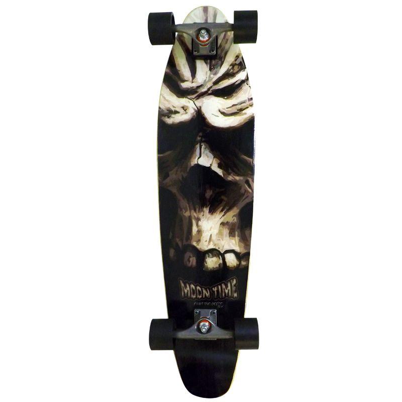 Skate Longboard Completo Moon Time Caveira Prancha  - OWL Sports