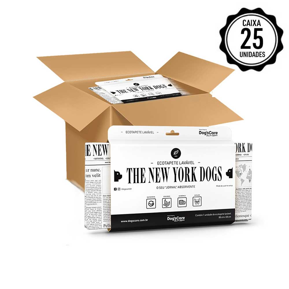 CAIXA COM 25 UNIDADES ECO TAPETE HIGIÊNICO LAVÁVEL THE NEW YORK DOGS