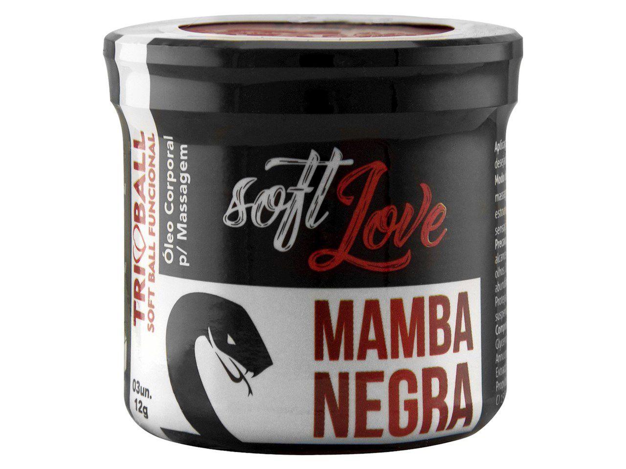 Bolinha excitante Triball Mamba Negra com 3 unidades