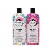 Ghair Kit Relaxa Fios Shampoo e Condicionador Litro e Óleo 7ml