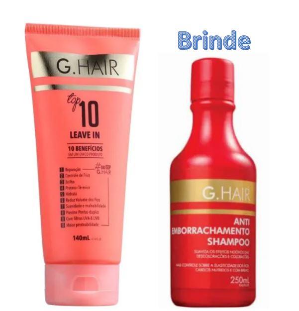 G.Hair Top 10 - Leave-in 140ml + Shampoo Antiemborrachamento (Emb. Antiga)  - Loja Ghair Cosmeticos
