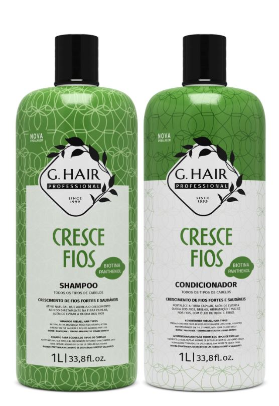 Ghair Kit Cresce Fios Shampoo e Condicionador Litro  - Loja Ghair Cosmeticos