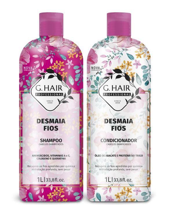Ghair Kit Desmaia Fios Shampoo e Condicionador Litro  - Loja Ghair Cosmeticos