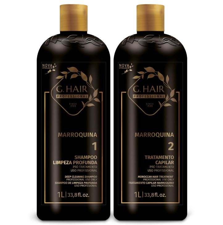 Ghair Kit Escova Marroquina 2x1 Litro + Brinde Shampoo  - Loja Ghair Cosmeticos