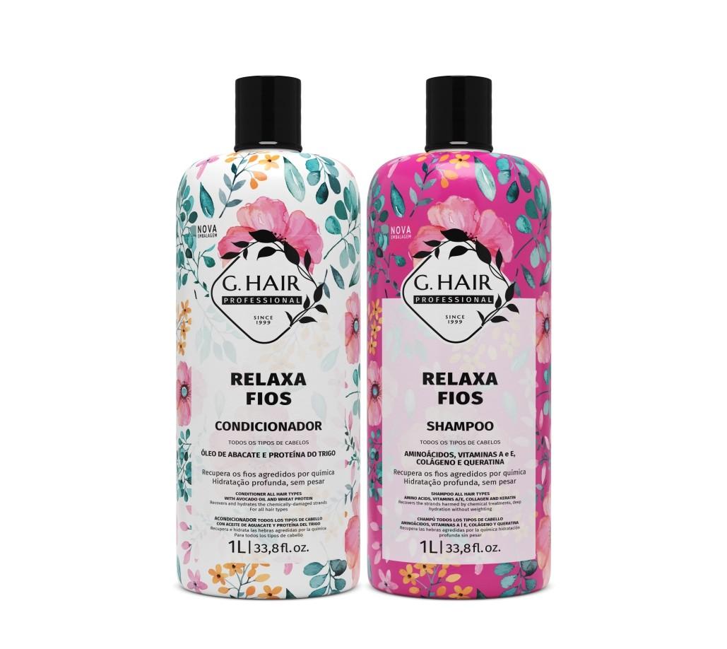 Ghair Kit Relaxa Fios Shampoo e Condicionador Litro e Óleo 7ml  - Loja Ghair Cosmeticos