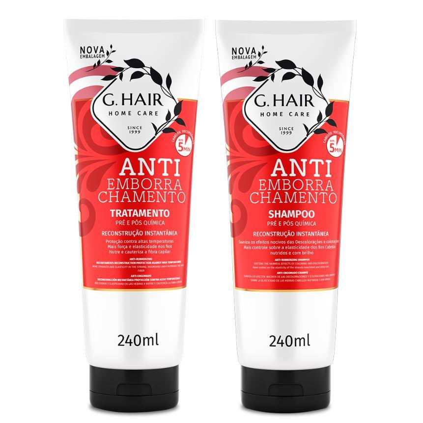 Ghair Kit Shampoo e Tratamento Antiemborrachamento 2x240ml  - Loja Ghair Cosmeticos