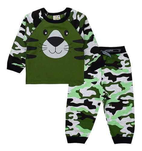 Conjunto De Moletom Infantil Camuflado Verde Roupas Bebê