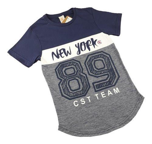 Camiseta Long Infantil Masculina Estampada Flamê Recorte