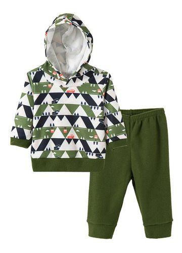 Conjunto Infantil Masculino Bebê Soft Com Capuz - Verde