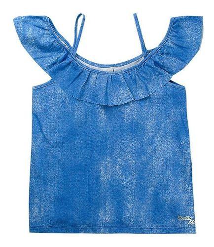 Blusa Ciganinha Feminina Infantil Azul - Costão