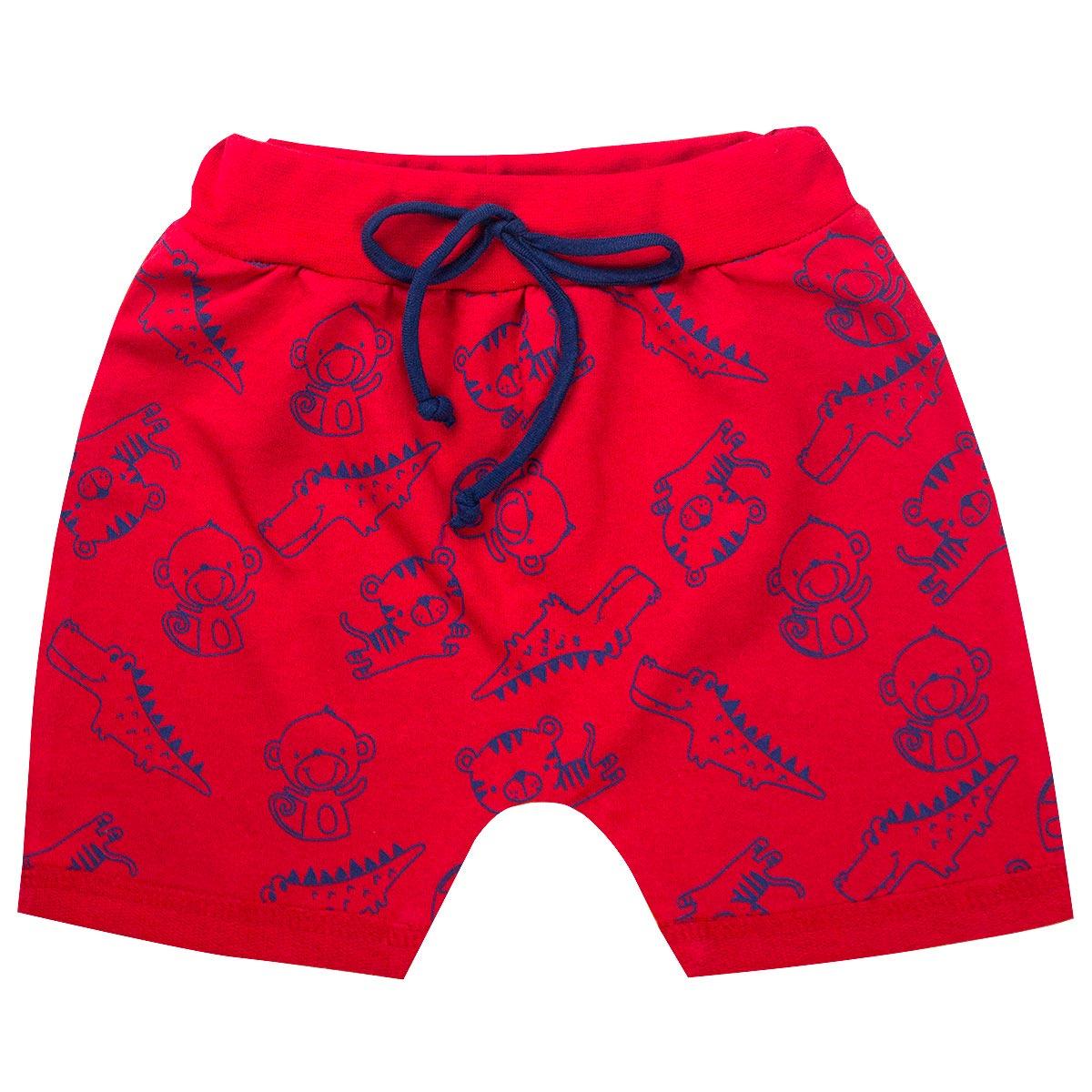 Bermuda Infantil Menino Estampada Saruel Vermelha Isensee
