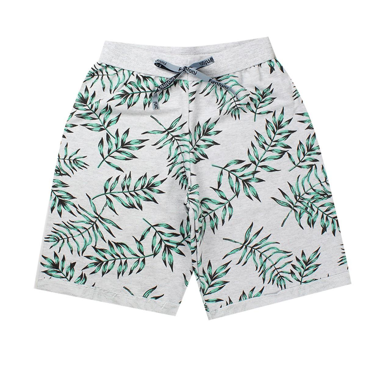 Bermuda Infantil Menino Moletom Estampada Floral Verde