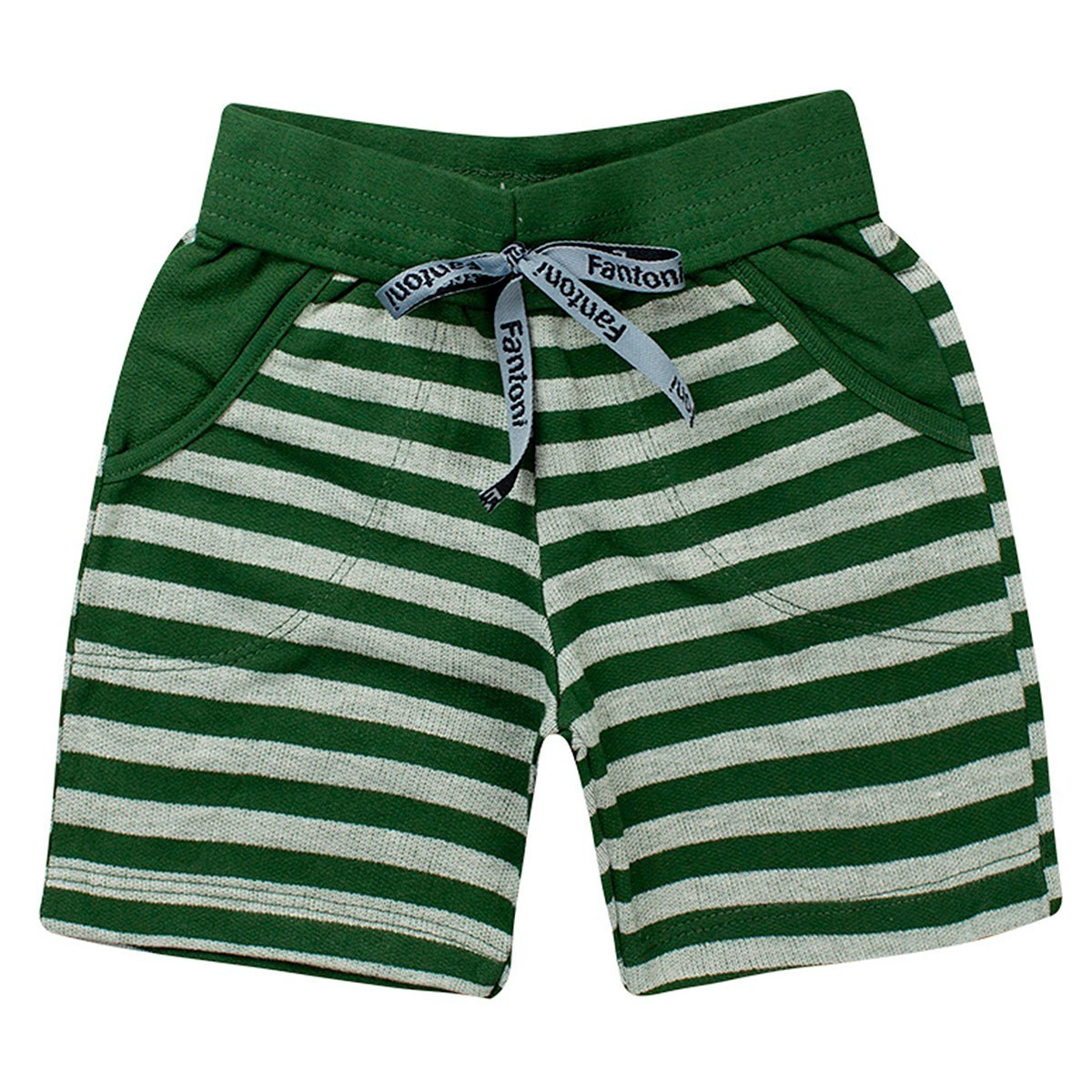 Bermuda Infantil Menino Verão Listrada Verde - Fantoni