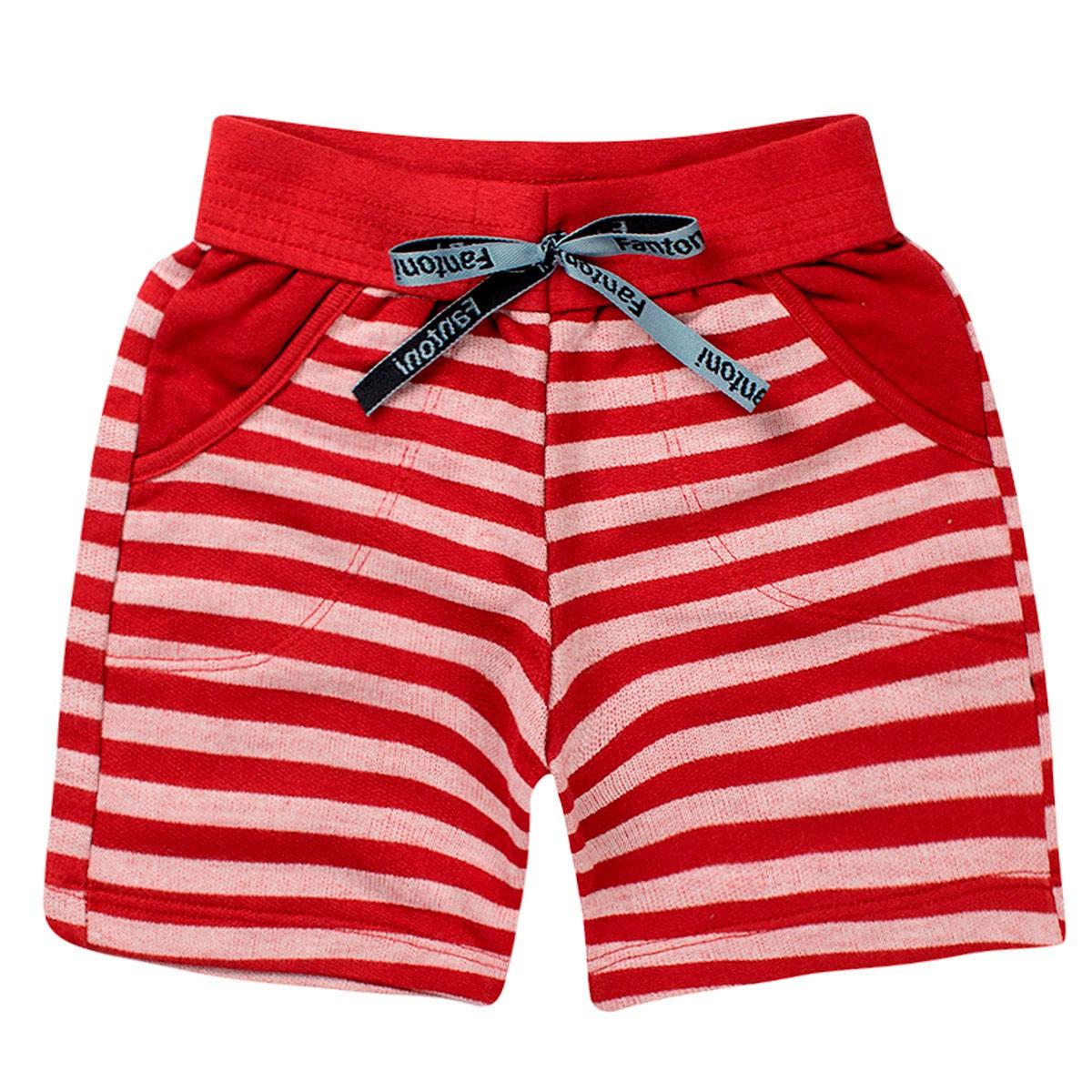Bermuda Infantil Menino Verão Listrada Vermelha - Fantoni