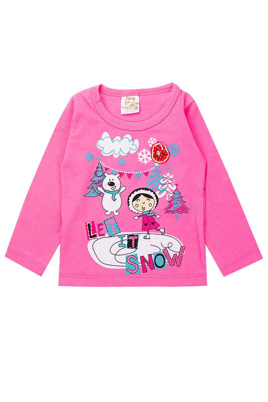 Blusa Infantil Bebê Menina Let It Snow Rosa