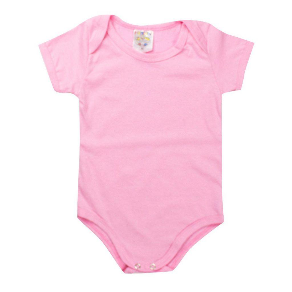 Body e Babador Infantil Feminino Bebê Rosa - Fantoni