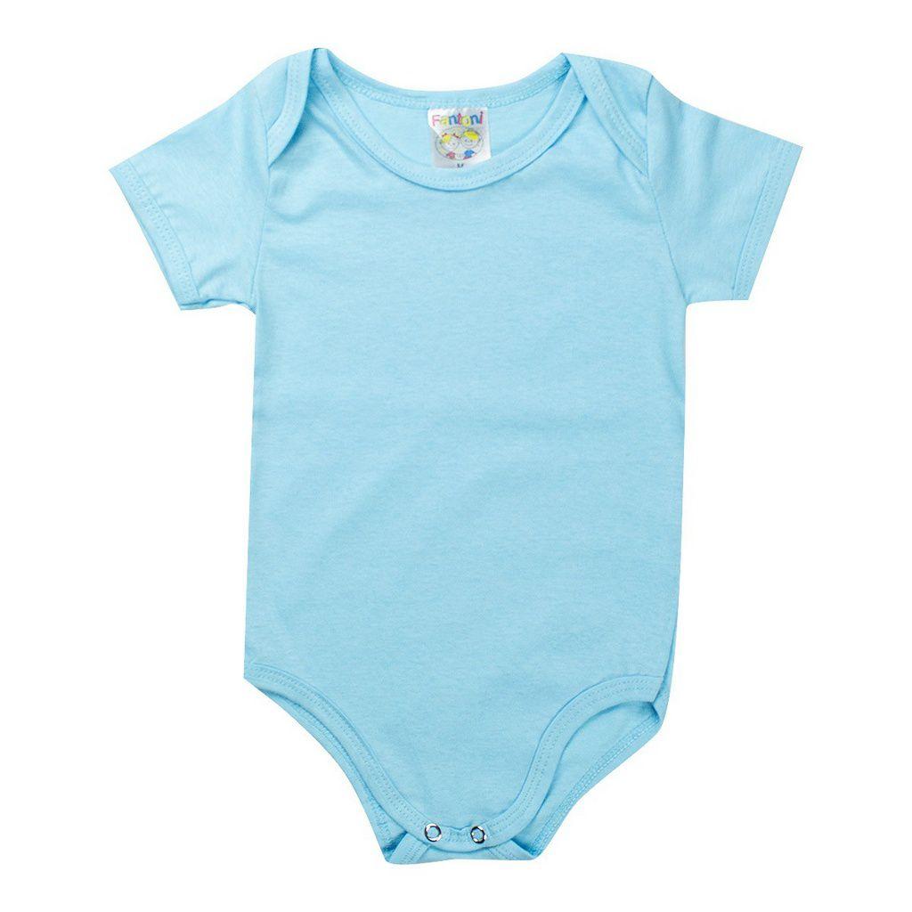 Body e Babador Infantil Masculino Bebê Azul - Fantoni