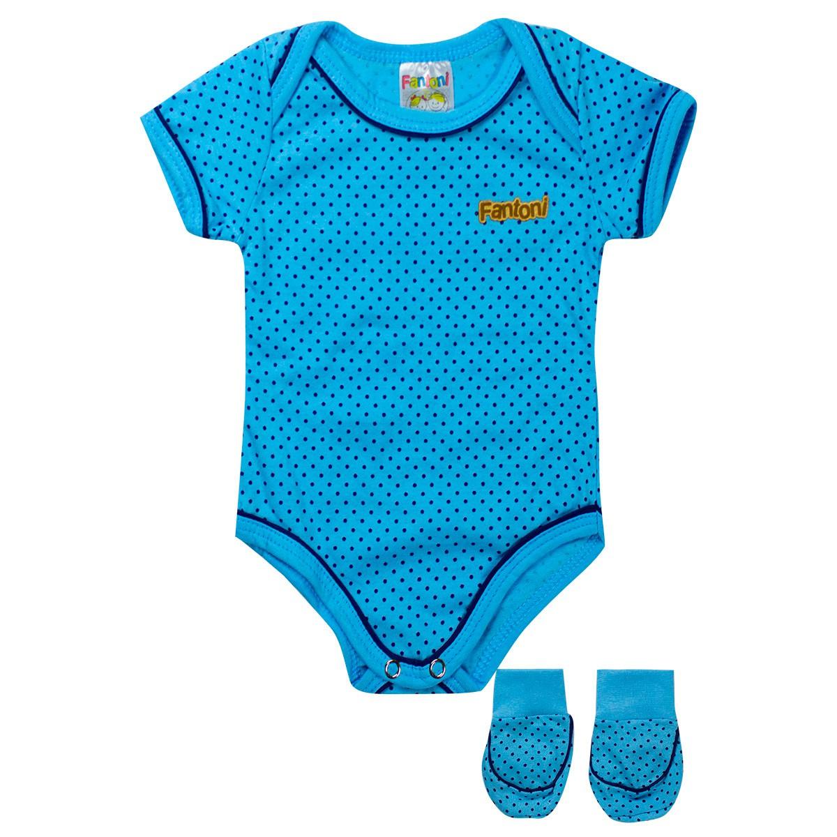 Body Infantil Bebê Menino Com Sapatinho Azul - Fantoni