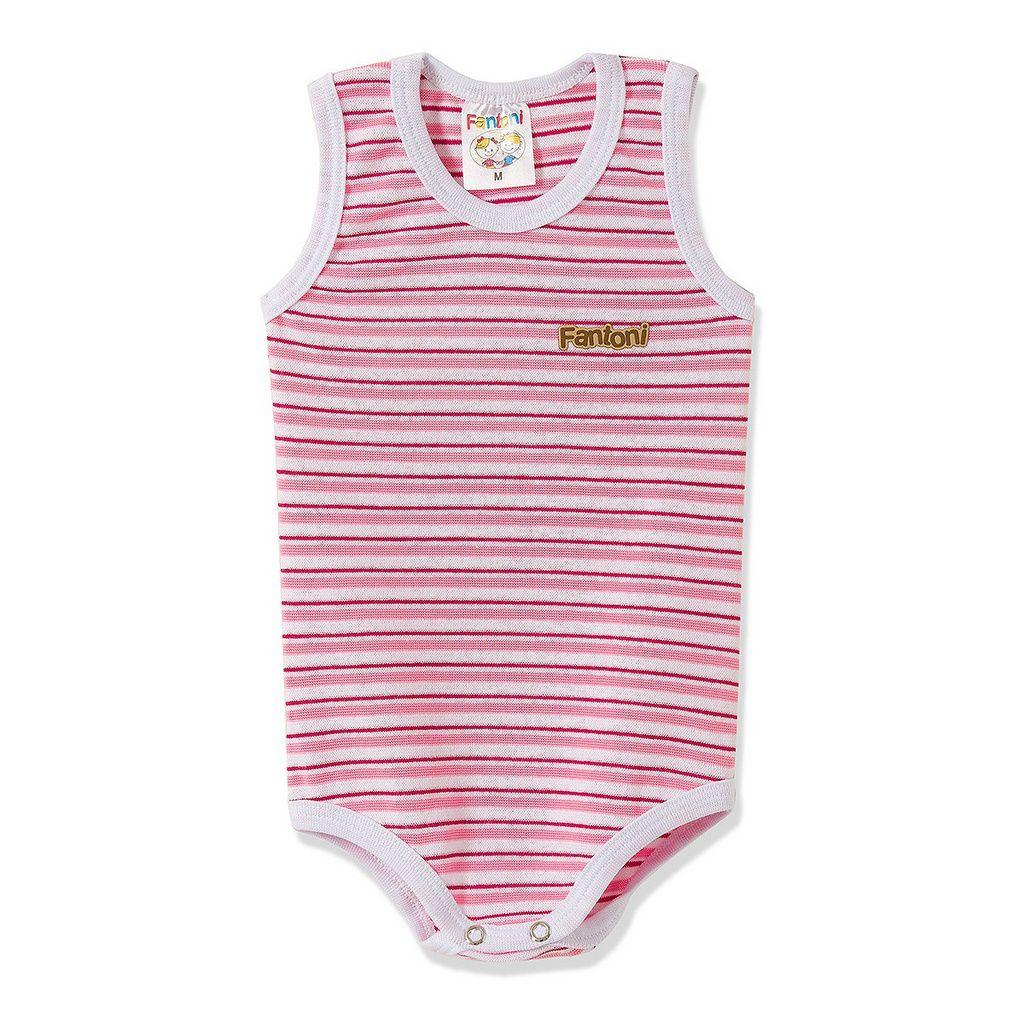 Body Infantil Bebê RN Listrado Pink  - Fantoni