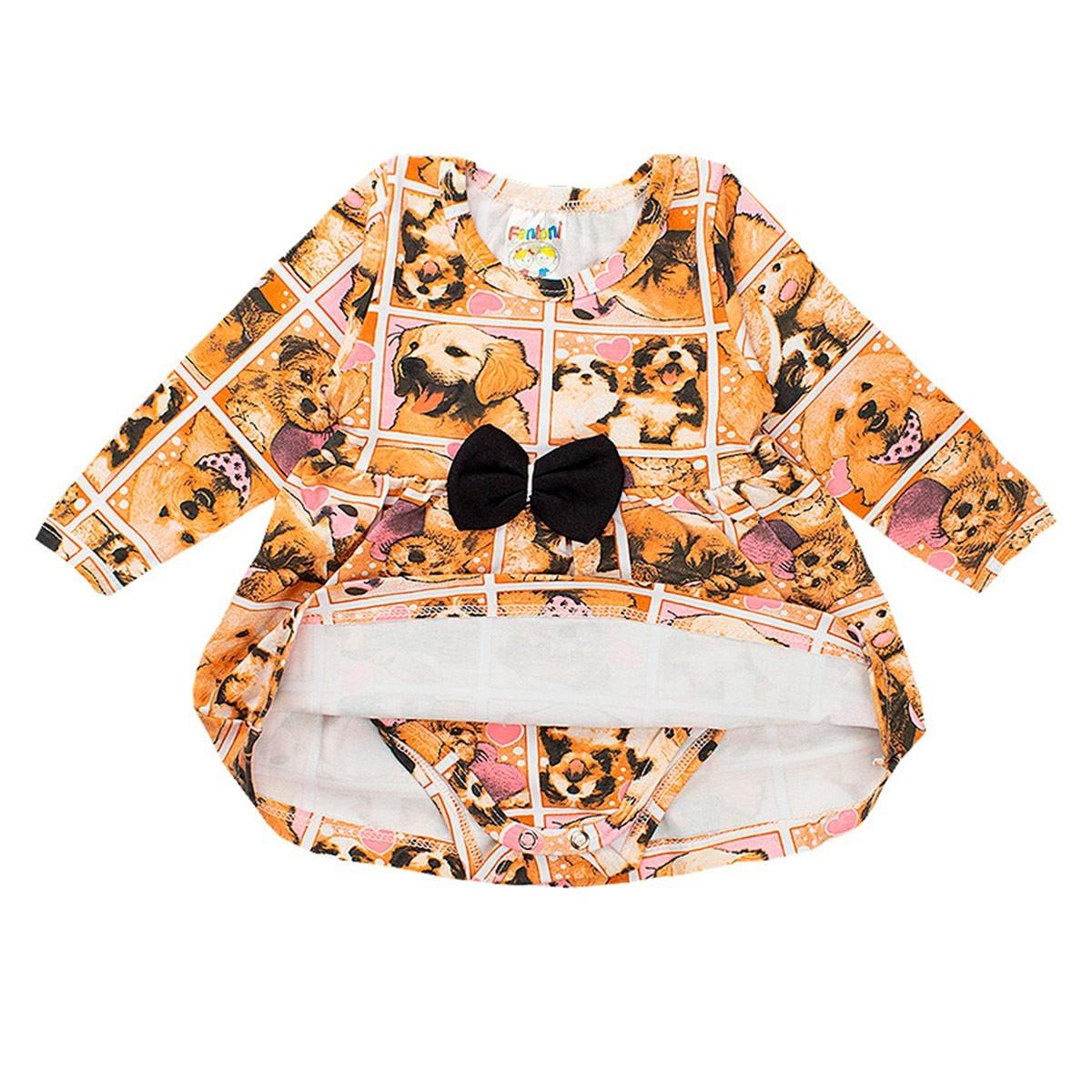 Body Vestido Cotton Estampa Rotativa Pérola