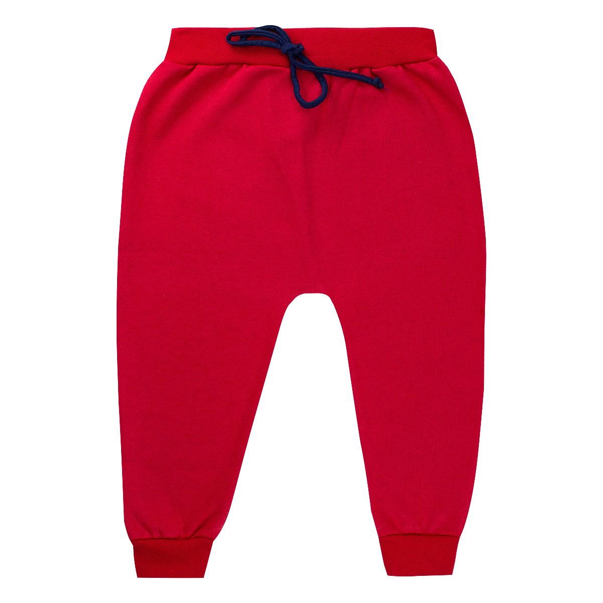 Calça de Moletom Infantil Menino Saruel Lisa - Vermelha
