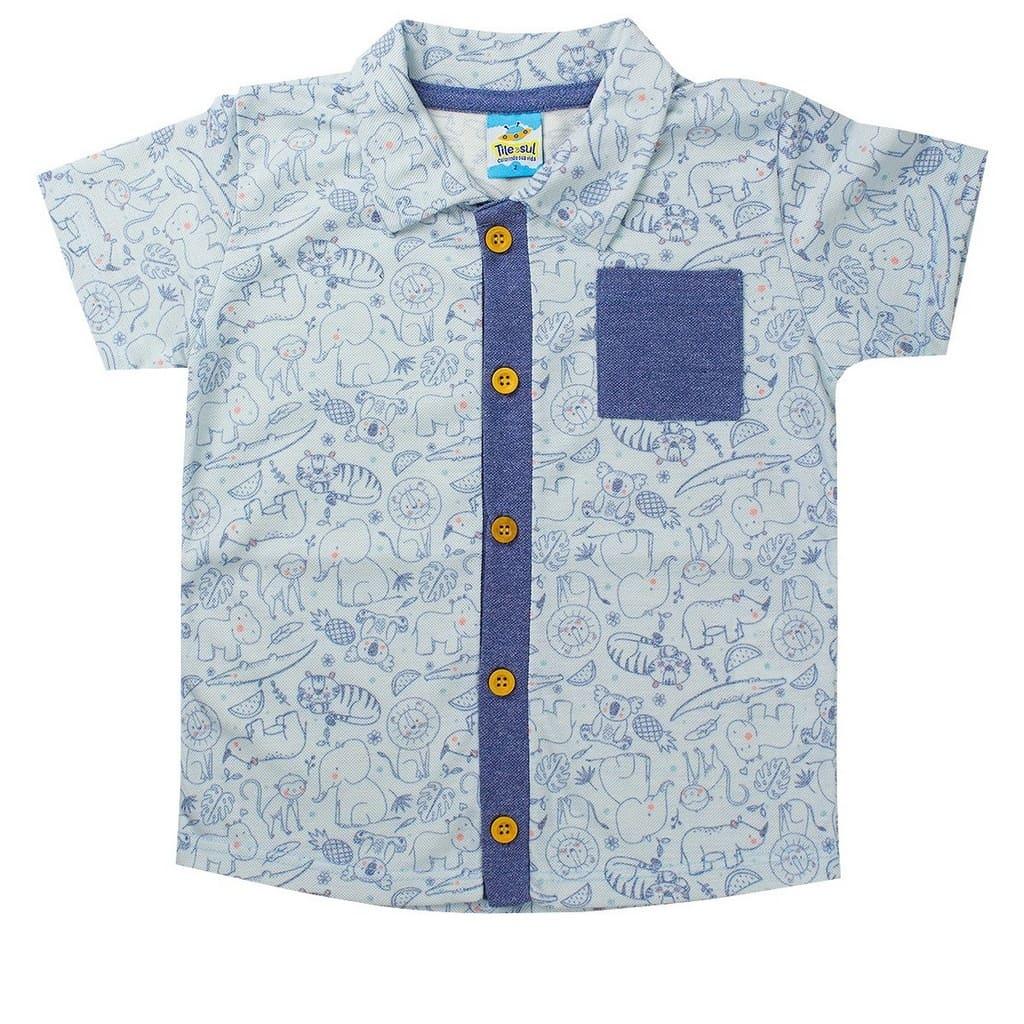 Camisa Masculina Infantil Piquet Mouline Azul - TileeSul