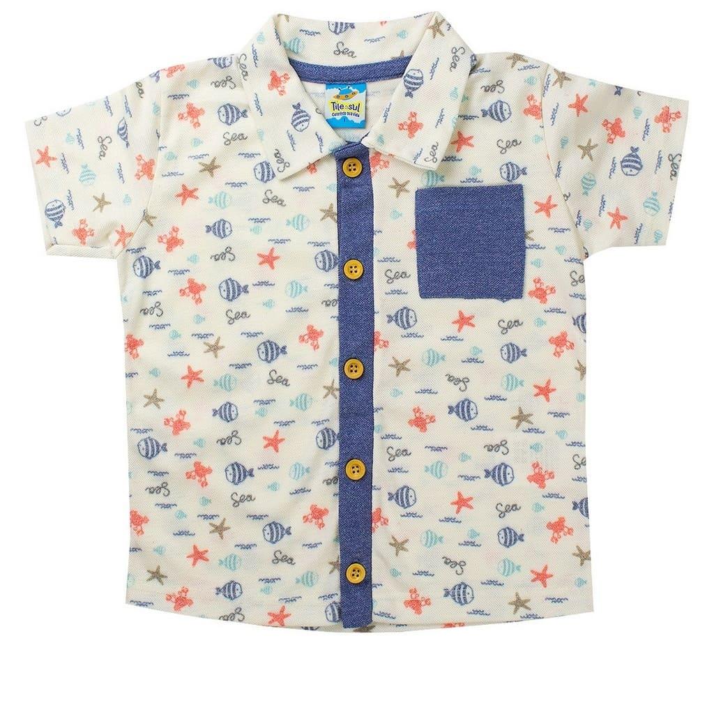 Camisa Masculina Infantil Piquet Mouline Pérola - TileeSul
