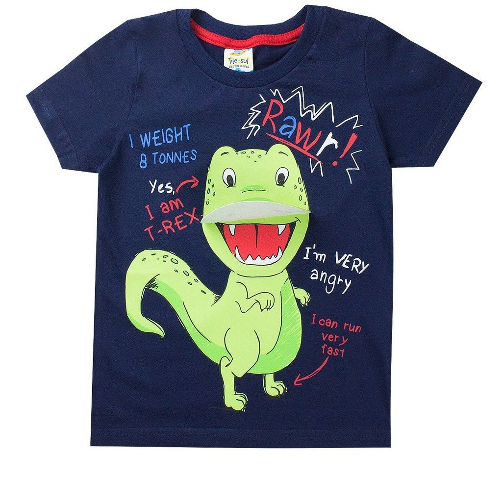 Camiseta Infantil Masculina Dino Marinho- Tileesul
