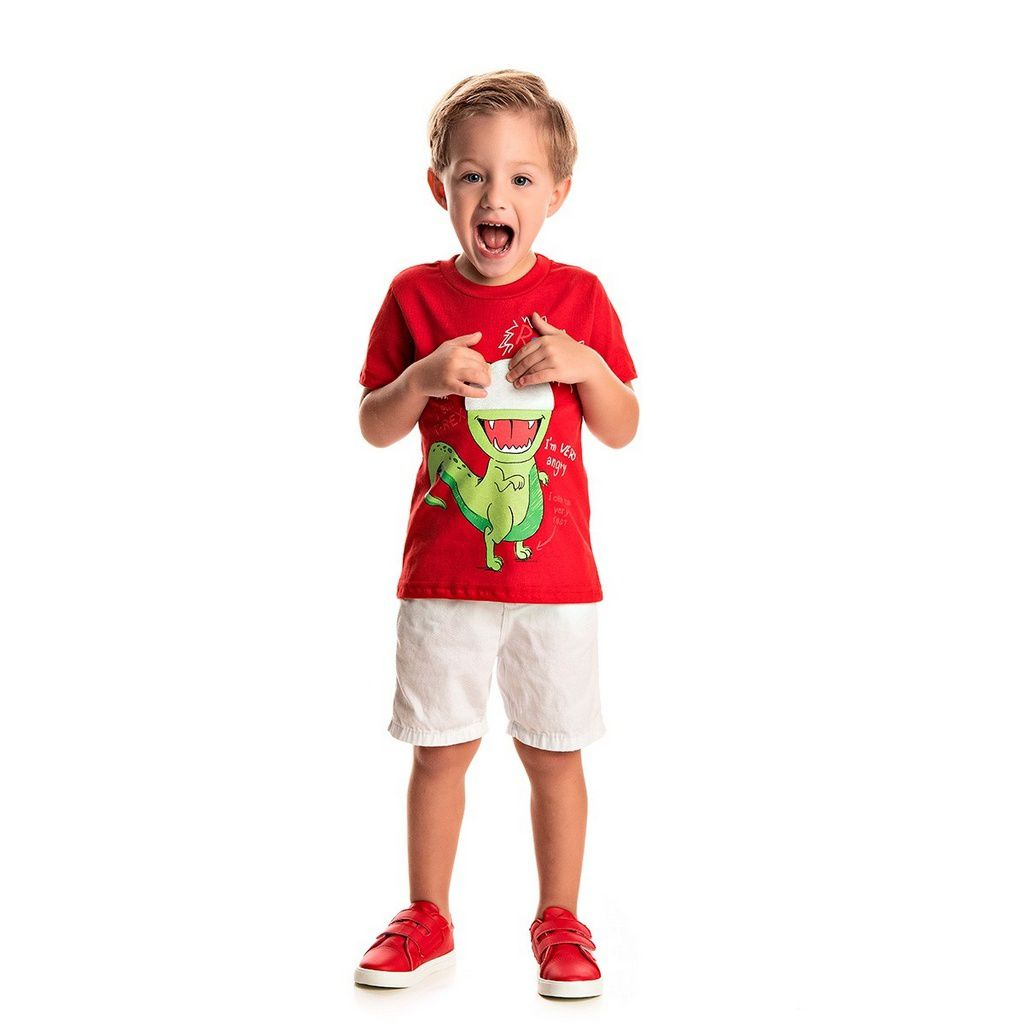 Camiseta Infantil Masculina Dino Vermelha- Tileesul