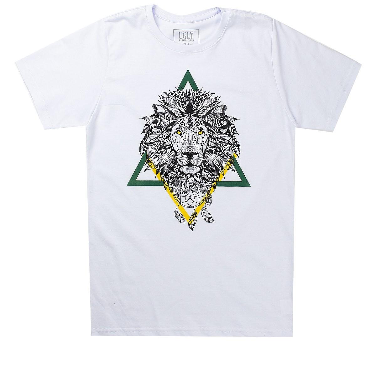 Camiseta Infantil Masculina Lion Branco - Ugly
