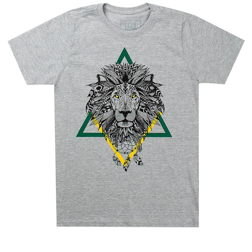 Camiseta Infantil Masculina Lion Cinza - Ugly