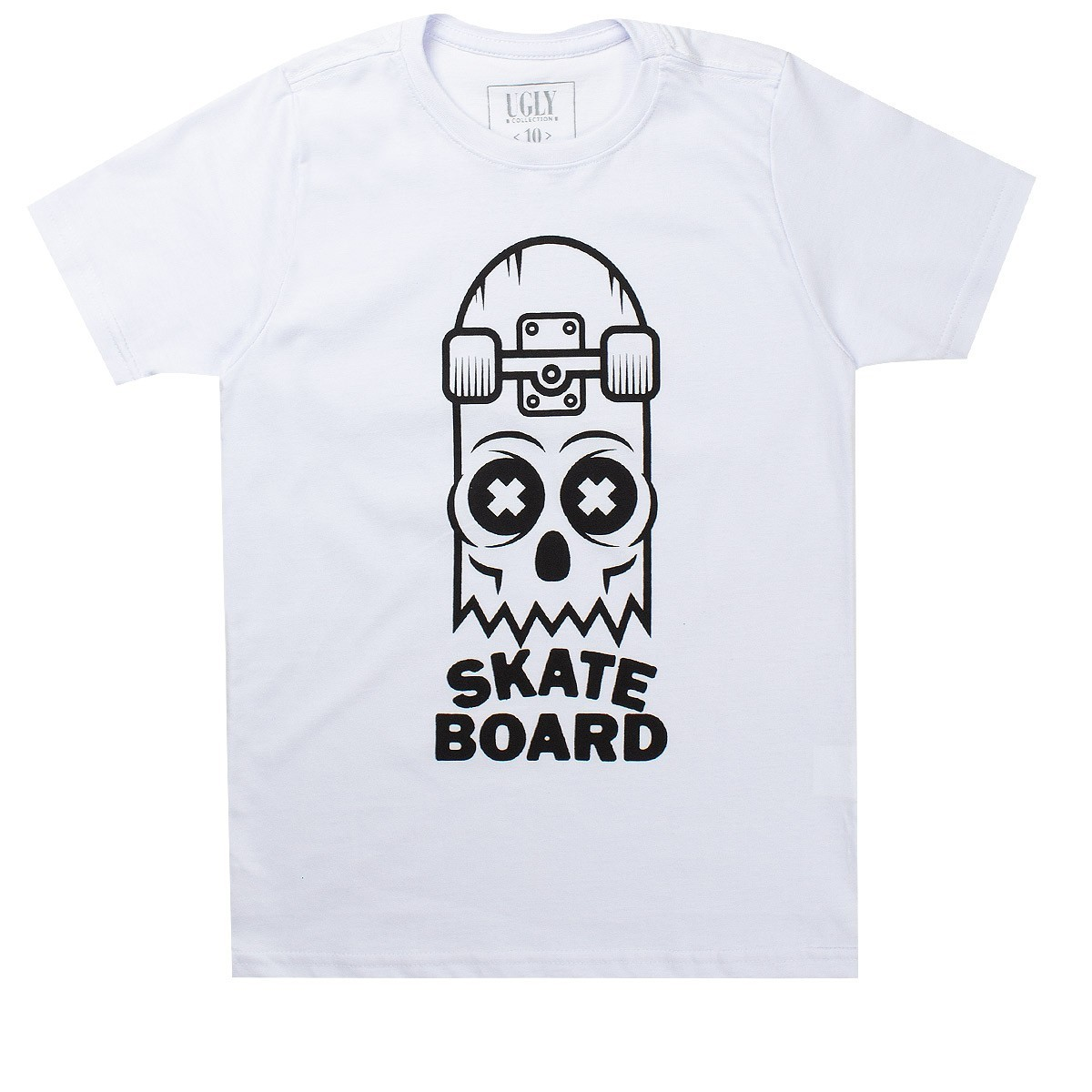 Camiseta Infantil Masculina Skate Board Branco - Ugly