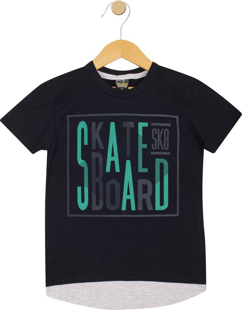 Camiseta Infantil Masculina Skate Preto - Tileesul