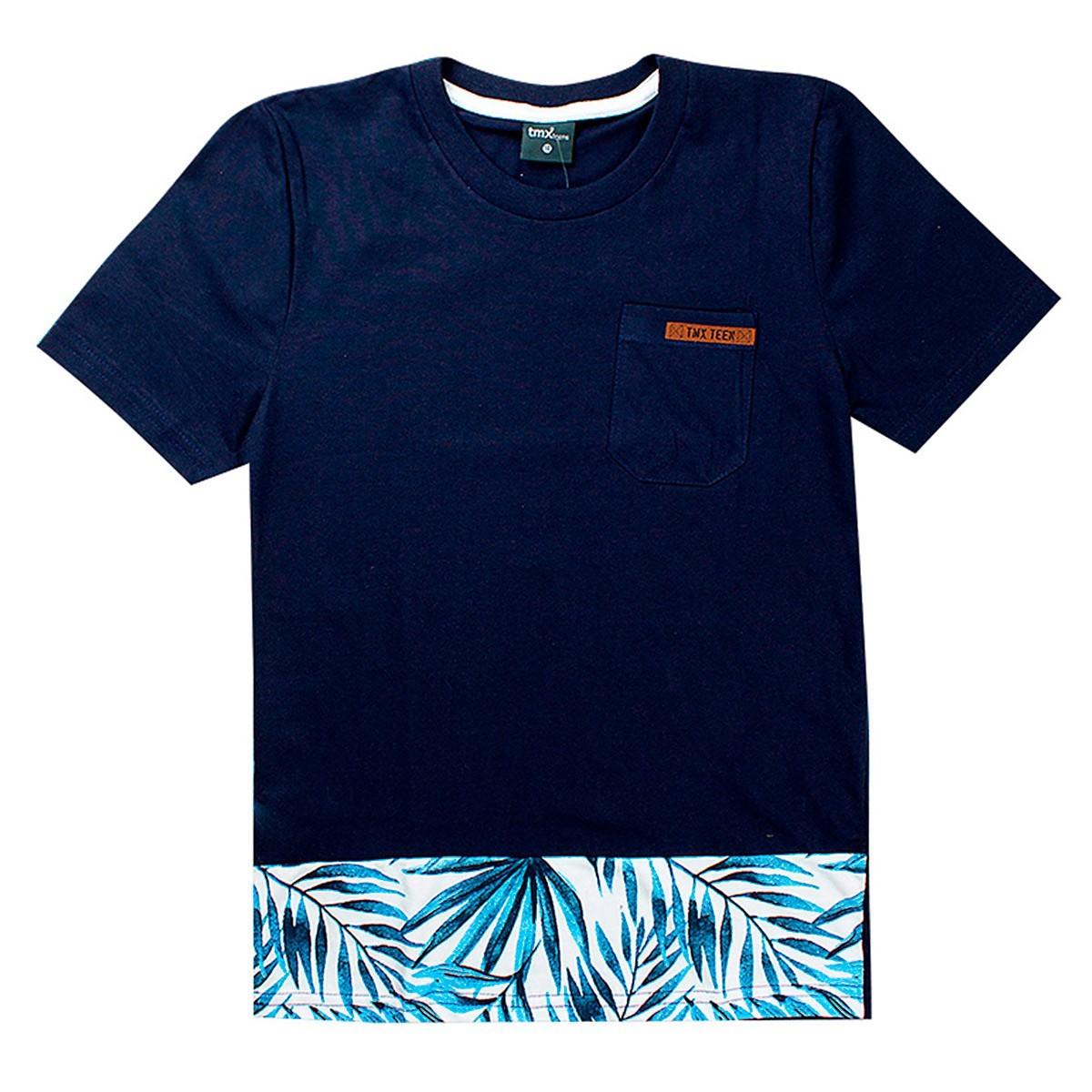 Camiseta Infantil Menino Estampada Floral Marinho - TMX