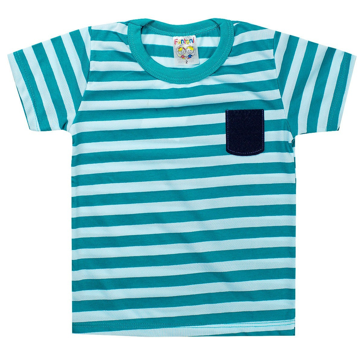 Camiseta Infantil Menino Listrada Verde - Fantoni
