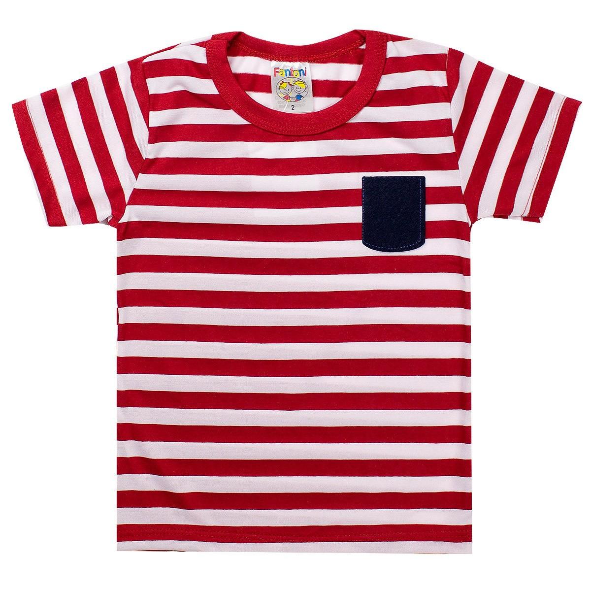 Camiseta Infantil Menino Listrada Vermelho - Fantoni